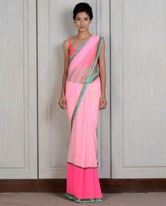 Pink Net Georgette Panelled Sari