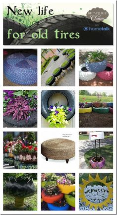 Old Tires have become a hot, artistic, recycled item lately. Just recently I have seen interior furniture being constructed from left over tires. Brilliant! Here is a collection I put together over at Hometalk. In case you haven't been over there.. what are you waiting for ?