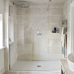 Neutral stone tiled shower room | Bathroom decorating | Ideal Home | Housetohome.co.uk