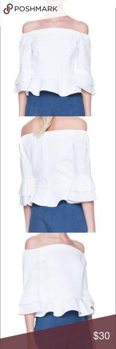 Off shoulder Top Short peplum, off shoulder white top Tops Blouses