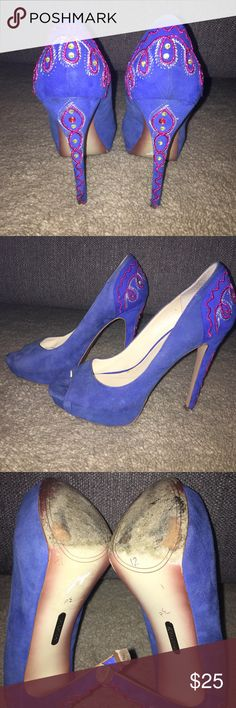 Blue suede shoes! These are a smooth blue suede and have beautiful beading along the heel! They haven't been worn very much and are in good condition. Boutique 9 Shoes Heels