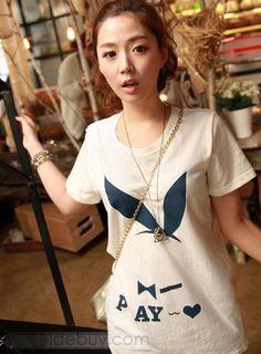 快適な韓国スタイルショートスリーブTシャツ
