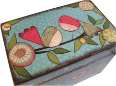Recipe Box Decoupaged This Teal Blue Bird Box by IHaveBeenFramed, $32.00