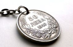 Keychain Bulgarian Coin keychain Men's accessory by CoinStories
