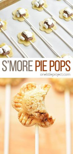These flower shaped s'more pie pops take a little bit of effort to put together, but they're completely adorable! And they taste sooooo good! Who doesn't LOVE melted chocolate and marshmallows!? Yum! Snack Recipes, Dessert Recipes, Cooking Recipes, Snacks, Smores Pie, Pie Pops, Melted Chocolate, Yummy Food, Tasty