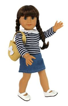 """Doll Clothes for American Girl Dolls: 4 Piece """"Casual Day Out"""" Outfit - """"Dress Along Dolly"""" (Includes Long Sleeved Shirt, Skirt, Shoes, and Basket Purse)"""