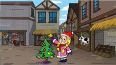 A Girl Decorating A Christmas Tree At A Medieval Market :  A girl with long braided blonde hair blue eyes and pink blushing cheeks wearing a red Santa hat pink winter coat with white furry edges purple mittens navy blue with white boots and gray leggings holds up a golden star on her right hand that she will place on top of a green Christmas tree with hanging multicolored Christmas balls adorned with a violet tree base cover. Set in a medieval marketplace with brick wall houses different…