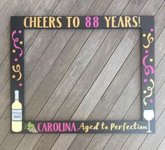 80th Birthday Photobooth - Cheers to 75 Years - Wine Lovers Photo Frame Prop - 80th Birthday Frame Prop