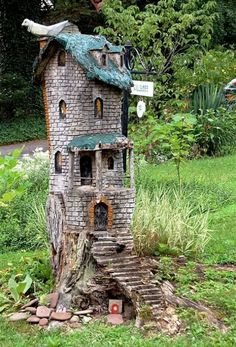 Tree log fairy house
