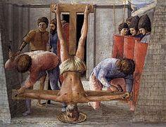 Masaccio, Crocifissione di San Pietro, 1426, Tempera su tavola, Musei Statali, Berlino.
