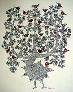 Magic Tree by Suresh Dhrube, Gond artist, of India....<3