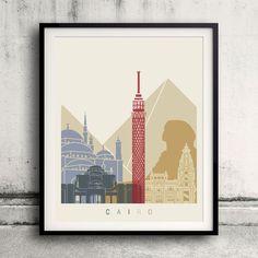 Cairo skyline poster - Fine Art Print Glicee Poster Decor Home Gift Illustration…