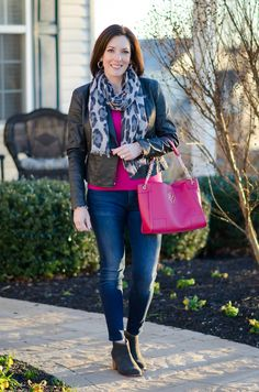 Easy and Chic Outfit Formula for Women Over 40: bright cashmere sweater with skinny jeans, ankle boots and a moto jacket. Throw on a scarf and carry a great bag!