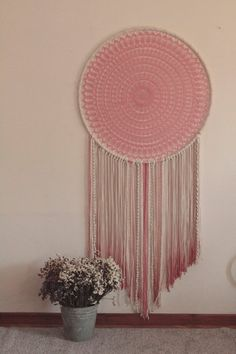 Extra large dream catcher pink ombre giant by TheWovenDreamFactory Grand Dream Catcher, Dream Catcher Pink, Large Dream Catcher, Nursery Wall Art, Nursery Decor, Bedroom Decor, Bedroom Ideas, Modern Bohemian, Bohemian Decor