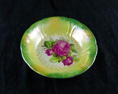 Antique Franz Ant Mehlem German Large Bowl, Green Yellow & Orange Luster with Rose, Bonn Germany Porcelain