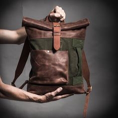Canvas and leather backpack with military vintage upcycled elements / Roll top backpack by Kruk Garage / Made of British army duffle bag by KrukGarage on Etsy