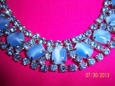 Stunning all Blue Stones Sparkling Choker Necklace by CalicoCandys, $45.00