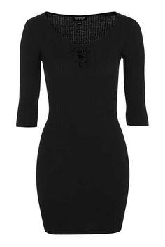 Lace Up Mini Bodycon Dress