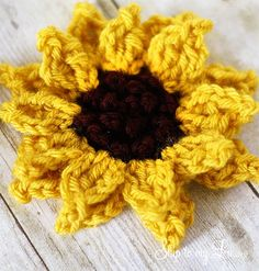 Crochet Sunflower Pattern Size J Hook, worsted weight yarn Chain 5, slip stitch to join. insert hook in first chain from hook, yo pull...
