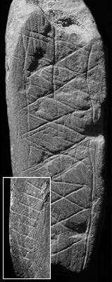 70,000 year old writing and art found in South Africa   The artifacts discovered in Blombos cave were made of the iron ore stone ochre. Small pieces of ochre were first scraped and ground to create flat surfaces. The early artist decorated the stones with a complex geometric array of carved lines.