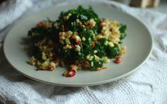 Pomegranate-orange rice salad with kale #glutenfree #vegan
