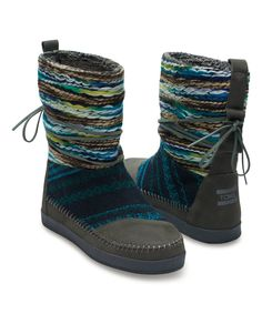 Take a look at this TOMS Gray & Blue Stripe Suede Nepal Boot today!