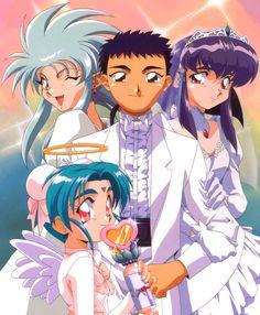 Tenchi, Ryoko, Ayeka, and Sasami from Tenchi Muyo!