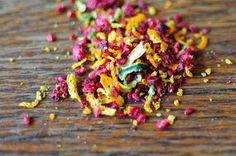 Fruit Sprinkles - dehydrated raspberries, lemon, lime and orange zest.