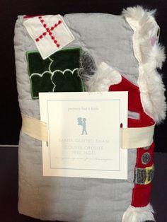 Pottery Barn Kids SANTA Quilt_ed EURO SHAM Holiday Sleigh Christmas Bed NEW  #PotteryBarnKids