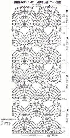 Crochet pattern for blouses Crotchet Stitches, Crochet Motifs, Crochet Borders, Crochet Diagram, Crochet Stitches Patterns, Crochet Chart, Love Crochet, Crochet Designs, Crochet Lace
