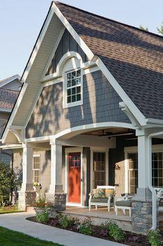 Cottage Exterior Colors, Exterior Paint Colors For House, Paint Colors For Home, Paint Colours, Exterior Paint Schemes, Exterior Siding, Exterior Design, Stone Exterior, Building Exterior
