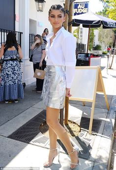 Sweet tooth: Zendaya Coleman donned a leggy look to visit Jessica Biel's organic family restaurant Au Fudge in West Hollywood on Wednesday