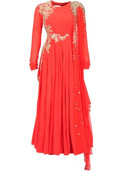 Neon coral embroidered kurta set available only at Pernia's Pop-Up Shop.