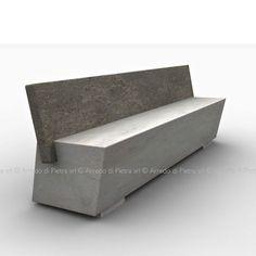 Public bench / contemporary / stone / with backrest ZAK arredo di pietra srl Concrete Coffee Table, Concrete Bench, Concrete Furniture, Concrete Design, Diy Furniture, Furniture Design, Diy Wood Bench, Stone Bench, Backyard Seating