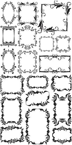 Discover thousands of images about Vintage decorative frames vector. Great for the laser cutter. Wood Burning Patterns, Wood Burning Art, Molduras Vintage, Borders And Frames, Paper Borders, Free Vector Graphics, Vector Vector, Vector Free Download, Printable Labels