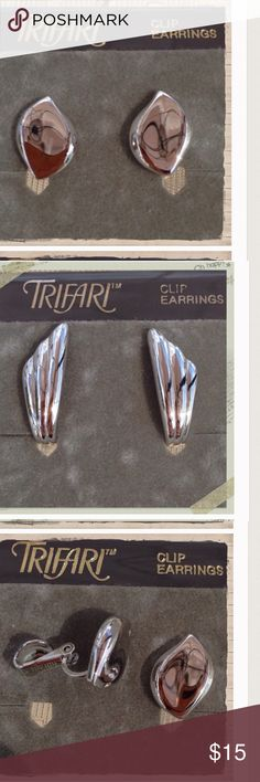 Trifari  Clip-On Earring Bundle 2 pairs of Trifari clip earrings. Trifari Jewelry Earrings