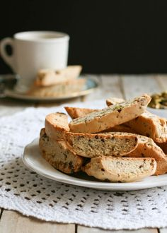 Anise Biscotti with Pistachios & Dark Chocolate   Butterlust.com