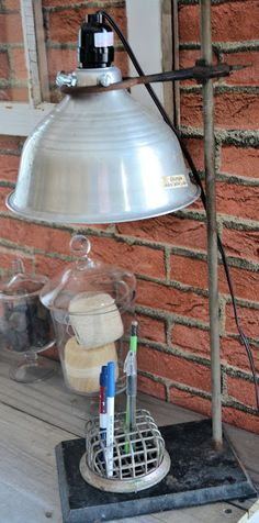 Lamp made from chemistry beaker stand and metal light