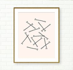 This listing is for one Paper Print in selected size.  Its a beautiful print of bobby pins on very pale pink background. The bobby pins were hand d...