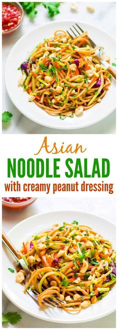 Asian Noodle Salad with Peanut Dressing. AMAZING cold pasta salad. Quick and EASY, lightened up from the original, and everyone always asks me for the recipe! Great for a cookout side dish or add chicken to make it a full meal. Recipe at wellplated.com @wellplated — Gluten free, dairy free, vegan, and healthy!