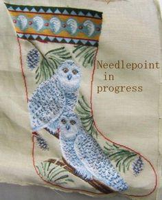 needlepoint christmas stocking canvas | Needlepointfriendzi Needlepoint Christmas Stocking Collection Snow Owl ...