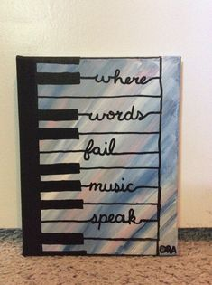 Where words fail music speak canvas painting Beach Canvas Paintings, Canvas Painting Quotes, Canvas Painting Tutorials, Easy Canvas Painting, Music Painting, Dot Art Painting, Small Canvas Art, Diy Canvas Art, Music Canvas