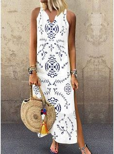 Casual V Collar Floral Printed Loose maxi dress maxi dress outfit maxi dress summer maxi dress casual floral maxi dress boho maxi dress Maxi Dress With Slit, Floral Maxi Dress, Boho Dress, Lilac Dress, Dress Girl, Dress Outfits, Casual Dresses, Fashion Outfits, Summer Dresses