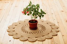 This is a 100% HANDMADE natural area rug made from jute rope. Handstitched and glued for extra strenght. _________________________________________________________________________ DIMENSIONS: Diameter Approx. 71cm (28) CARE & CLEANING: -Regularly vacuum clean with brush on -Most spills are easily removed using a cloth to suck up the liquid -If washing a spill is necessary, choose a mild detergent or a low pH rug shampoo. Please note that the color of the Items may vary slightly due to…