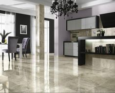 Love the beige and grey tones on this shiny ceramic tile