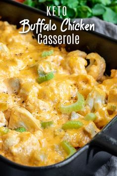 Keto Buffalo Chicken Cauliflower Casserole is a quick and easy low carb dinner recipe made with cauliflower, cream cheese, cheddar cheese, and spicy buffalo chicken. It's a creamy, loaded cauliflower casserole that is a healthy keto dinner. Chicken Cauliflower Casserole, Buffalo Chicken Casserole, Cauliflower Recipes, Stew Chicken Recipe, Easy Crockpot Chicken, Chicken Recipes, Keto Chicken, Chicken Soup, Baked Chicken