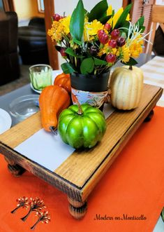 fall decorated footed tray