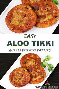 Tandoori Recipes, Aloo Recipes, Veg Recipes, Cooking Recipes, Food Recipes In Hindi, Indian Food Recipes, Indian Snacks, Aloo Tikki Recipe, Vegetarian Fast Food