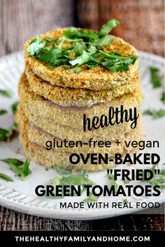 """Gluten-Free Vegan Oven-Baked """"Fried"""" Green Tomatoes Gluten-Free Vegan Oven-Baked """"Fried"""" Green Tomatoes…this plant-based recipe is a healthy make Healthy Vegetable Recipes, Healthy Gluten Free Recipes, Healthy Baking, Vegan Gluten Free, Real Food Recipes, Vegan Recipes, Paleo Vegan, Flour Recipes, Snack Recipes"""