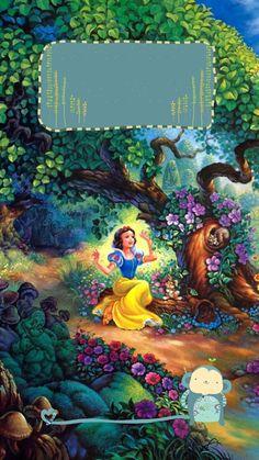 ↑↑TAP AND GET THE FREE APP! Lockscreens Art Creative Multicolour Cartoon Snow White Seven Dwarfs Trees  HD iPhone 6 Plus Lock Screen